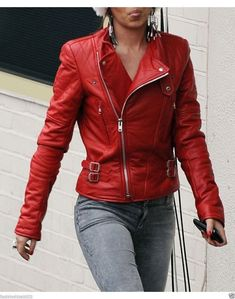 Red Women's Moto Lambskin Real Leather Jacket Motorcycle Slim fit Biker Jacket V Leather Jacket Outfits, Leather Jackets, Cheryl Cole, Jackets For Women, Clothes For Women, Fashion Designer, Trends, Look Cool, Red Leather