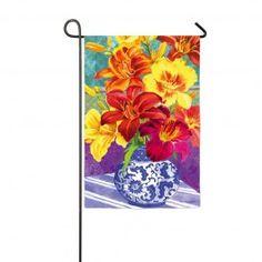 """Daylily Bouquet"" Printed Seasonal Garden Flag; Polyester 12.5""x18"" #springtime #springflowers #gardenflag #flagsaflying"