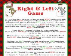 Left Right Christmas Story Christmas Gift Games Left
