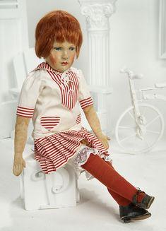 A Circle of Dolls: 315 German Cloth Art Doll by Dora Petzold with Original Maker's Stamp Felt Dolls, Bjd Dolls, Doll Toys, Antique Dolls, Vintage Dolls, Feather Brows, Blush On Cheeks, French Kids, Tiny Dolls
