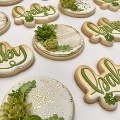 Succulent & Gold cookies for a friends babyshower 💚 #succulentsugarcookies #babyshower #sugarcookies #americolor #grunderfullydelicious…