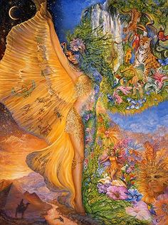 'Goddess Between Realms' 2013   by Josephine Wall    There are two sides to the amazing goddess. On her right she is Egyptian – the land of the Pharoahs and pyramids, with hierogliphics and symbols on her cloak. On her left side however she is merging with the Brazilian jungle, with all the exotic animals and plants. Below the jungle there is a wonderful parade going on with music and costume – it must be 'Mardi-Gras'..!!