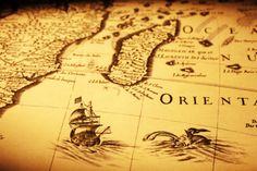 Antique map: Ships and Sea Monsters. Something like this on the from of a post…