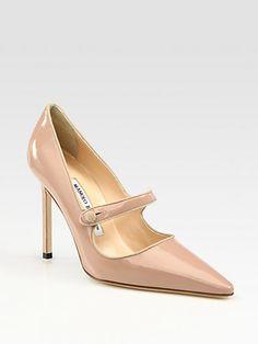 #Manolo Blahnik Campari Patent Leather Mary Jane Pumps