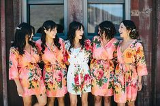 Bridesmaids Robes. Set of 5. Kimono Crossover Robe. by silkandmore, $135.00