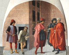 Oratorio dei Buonomini di San Martino - Firenze - bottega del Ghirlandaio - Le opere di misericordia: visitare i carcerati - affresco - fine 1500