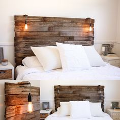 Our recycled rustic fence pailing bedhead. Lamp Kmart hack for the lighting and Kmart doona :) www.blueowlphotography.com.au