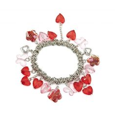 Intricate Link Charm Bracelet With Loads Of Red And Pink Glass Charms