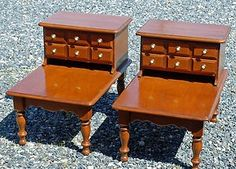 FREE SHIPPING!! Mid Century ~ Maple Wood ~ Step End Tables ~ Apothecary Style ~ Book Tables Pair from Picsity.com