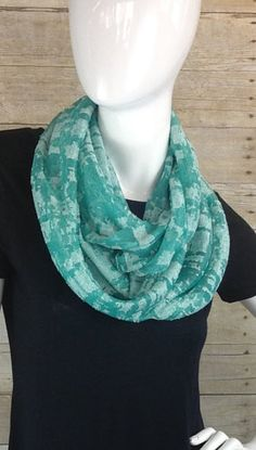 Green burnout knit Infinity Scarf by DeZeStar on Etsy