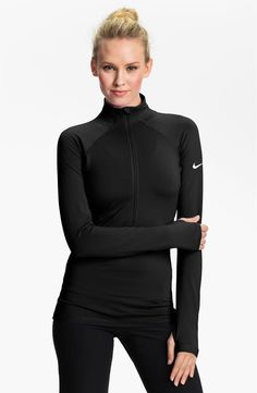 green, suburst, or black xs! Nike 'Pro Hyperwarm' Half Zip Top, have that whole outfit, LUV my Nike Pro! Workout Attire, Workout Wear, Workout Tops, Nike Workout, Sport Fashion, Fitness Fashion, Fashion Wear, Sport Nike, Sport Outfits