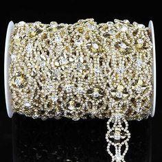 1 Yard Crystal Silver Gold Glass Rhinestone Applique Chain Trim DIY Sewing Craft