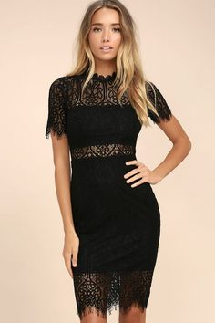 The Remarkable Black Lace Dress is the perfect LBD for any occasion! Black lining creates a cool two-piece look beneath sheer lace as it forms a rounded neckline, short sleeves, and a darted, sheath silhouette. Eyelash lace hem and hidden back zipper.
