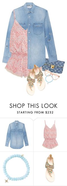 """""""Layered In Denim"""" by hollowpoint-smile ❤ liked on Polyvore featuring Yves Saint Laurent, Louis Vuitton, Paloma Blue, Sydney Evan and René Caovilla"""