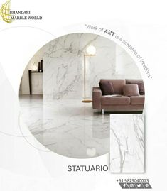 The Statuario White marble of Carrara region in Italy is one of the most precious marbles in the world. In fact, Very few materials, can compete with its transparent sheen and incredibly compact design. The main types of this marble are the White Statuario Venatino Marble, which has veins in shades of grey of various sizes, and the White Statuario Marble with thin veins. Marble Tiles, Marble Floor, Large Floor Tiles, Statuario Marble, Indian Architecture, Italian Marble, Carrara, White Marble, Indoor