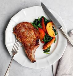 Pork Chops with Peaches and Greens