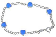 Blue Opal Heart Bezel Bracelet .925 Sterling Silver