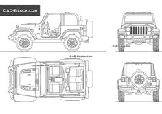 Drawing In Jeep Wrangler Rubicon CAD Block, vector cardrawings. Car drawings in all projections. Jeep Wrangler Rubicon, Jeep Drawing, Ford Convertible, Paper Car, British Sports Cars, Cad Blocks, Jeep Cars, Car Drawings, Jeep Cherokee
