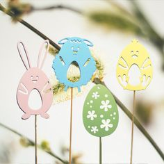 Wooden Easter Ornaments, Easter Decorations, Easter Gift, Wooden Easter Egg, Easter Bunny, Easter Sheep, Easter Chicken, Set of 4, VP333