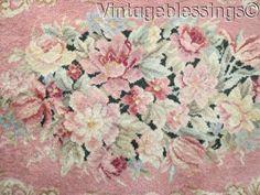 "www.Vintageblessings.com Romantic Cottage Vintage Karastan FRENCH FLORAL Roses Scrolls Wool Rug 62x37"""