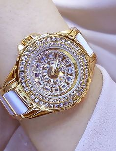 Women's Wrist Watch Diamond Watch Gold Watch Japanese Quartz Stainless Steel Ceramic White / Silver / Gold 30 m Casual Watch Analog Ladies Charm - Gold Silver Rose Gold Trendy Watches, Elegant Watches, Casual Watches, Beautiful Watches, Fancy Watches, Couleur Or Rose, Skeleton Watches, Expensive Watches, Watch Brands