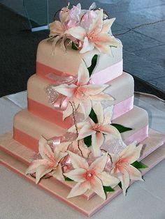 Lily cake with pink ribbon Cute Wedding Dress, Beautiful Wedding Cakes, Fall Wedding Dresses, Glamorous Wedding, Colored Wedding Dresses, Perfect Wedding, Diy Wedding, Dream Wedding, Wedding Day