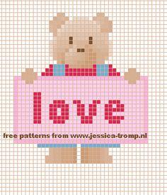 Teddy love hama perler bead pattern