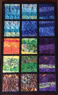 Art Quilt Fractured Landscape, Quilted Wall Hanging, Fiber Art Wall Quilt, Colorful Home Decor Blue Green Purple