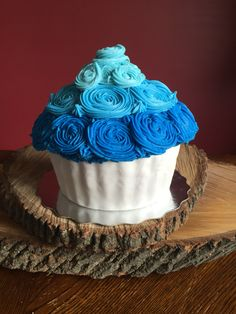 Smash Cake - blue Ombre butter cream, with fondant cupcake shell