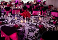 Black, white, and hot pink wedding reception ...