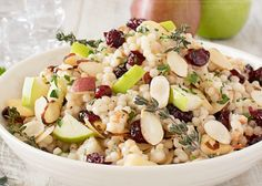 Israeli couscous is mixed with harvest fruits, almonds and herbs, then tossed with a flavorful maple mustard vinaigrette.  Healthy and delicious!