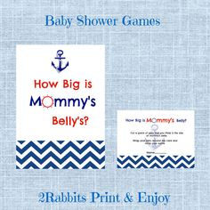 Guess How Big is Mommy's Belly Cards Plus Matching Sign by 2RabbitsPrintEnjoy. #printablebabyshowergame #nauticalbabyshower