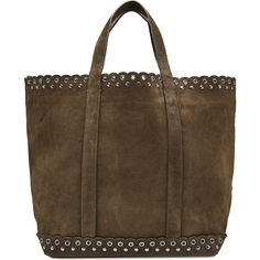 Vanessa Bruno Suede Tote (245 CHF) ❤ liked on Polyvore featuring bags, handbags, tote bags, green, brown suede purse, suede tote, green purse, green tote bag and handbags totes
