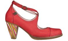 El Naturalista shoes: N477 CRUST LEATHER GROSELLA / COLIBRI MULTICOLOR