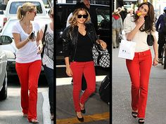 What colour shirt to wear with red jeans