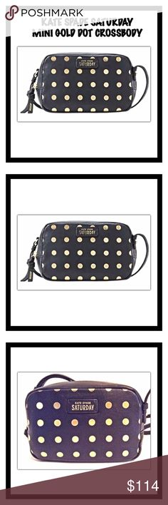 "Kate Spade Mini Gold Dot Crossbody Kate Spade Saturday Mini Mini Bag in Gold Dot.  Leather mini crossbody bag.  Can be worn as a crossbody or wristlet.  Adjustable and removable shoulder strap/wristlet strap.  Zip-top closure.  Leather/jacquard/metal hardware.  3.75""H x 6""W x 2.25""D; 22.5"" strap drop.  Priced to sell.  No trades. kate spade Bags Crossbody Bags"