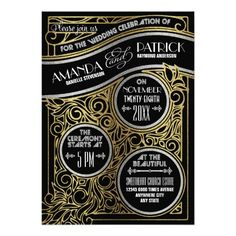 Gold & Black Gatsby Art Deco Wedding Invitations -- features an elegant art nouveau wedding design of peacock flourishes and vintage swirls in gold over top a black background. The gold and silver mixture is a faux glitter gradient print with white deco style fonts for a roaring 20's theme. Upgrade from basic card stock to many choices to the above right to bring out the old Hollywood glamour pop in this beautiful design that is appropriate for summer, fall, winter or even spring weddings.