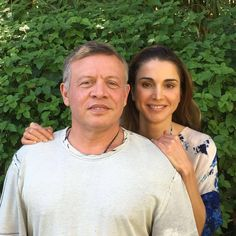 Queen Rania of Jordan with her husband King Abduallah II of Jordan on their 23rd wedding anniversary - June 10, 2016