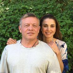 Queen Rania of Jordan with her husband King Abduallah II of Jordan on their 23rd wedding anniversary - June 10, 2016