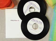 """So these are actually Save The Dates, but I think the idea would be a great wedding favour for your guests. Custom design your label and burn your wedding playlist for all your guests to remember the special day. (These """"records"""" are actually CDs) Vintage Save The Dates, Unique Save The Dates, Wedding Save The Dates, Save The Date Cards, Unique Wedding Invitations, Wedding Stationary, Birthday Invitations, Invites, Wedding Dj"""