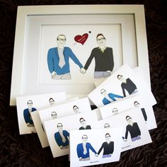 Custom illustrated wedding gift for Mark and Eric, who were married in the Catskills on 6/14/14! Gift includes framed 8x10 print and set of personalized greeting cards.