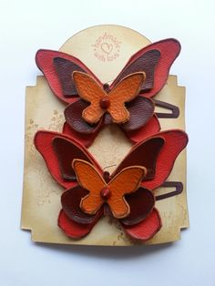Butterfly...leather hair clip