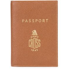 Mark Cross brand stamp passport holder (1,615 ILS) ❤ liked on Polyvore featuring bags, luggage and brown