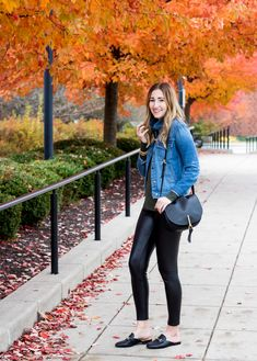 How to wear Leather leggings | winter outfit with faux leather pants | leather mule slides | how to wear a denim jacket in the winter