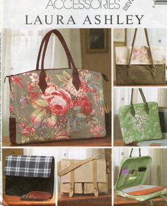 Free Us Ship Sewing Pattern McCall's 4531 Designer Laura Ashley Fashion Accessories Computer Business Bag Purse Satchel Unused 2004 by LanetzLivingPatterns on Etsy