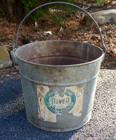 "Vintage Rustic ""Dover"" Metal Bucket, Metal Bucket, Vintage Industrial Metal Bucket, Outdoor Bucket Planter, Rustic Planter, Dover Supply Co. by Lalecreations on Etsy"