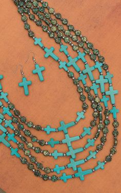 Turquoise Cross with Patina Beads Necklace & Earring Set EN2412