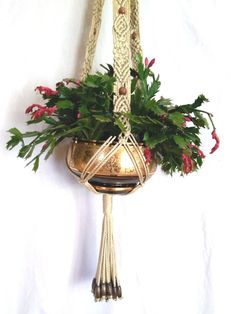 Handcrafted Unique Macrame Plant Hanger with Walnut Beads  44 inches Hanging basket flower Hanger