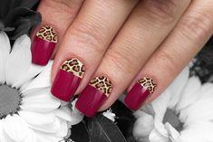 Red-Brown Leopard Print Nail Design