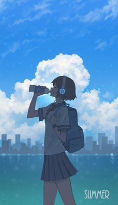 Cool Anime Girl, Beautiful Anime Girl, Anime Art Girl, Anime Scenery Wallpaper, Anime Artwork, Animes Wallpapers, Cute Wallpapers, Aesthetic Art, Aesthetic Anime